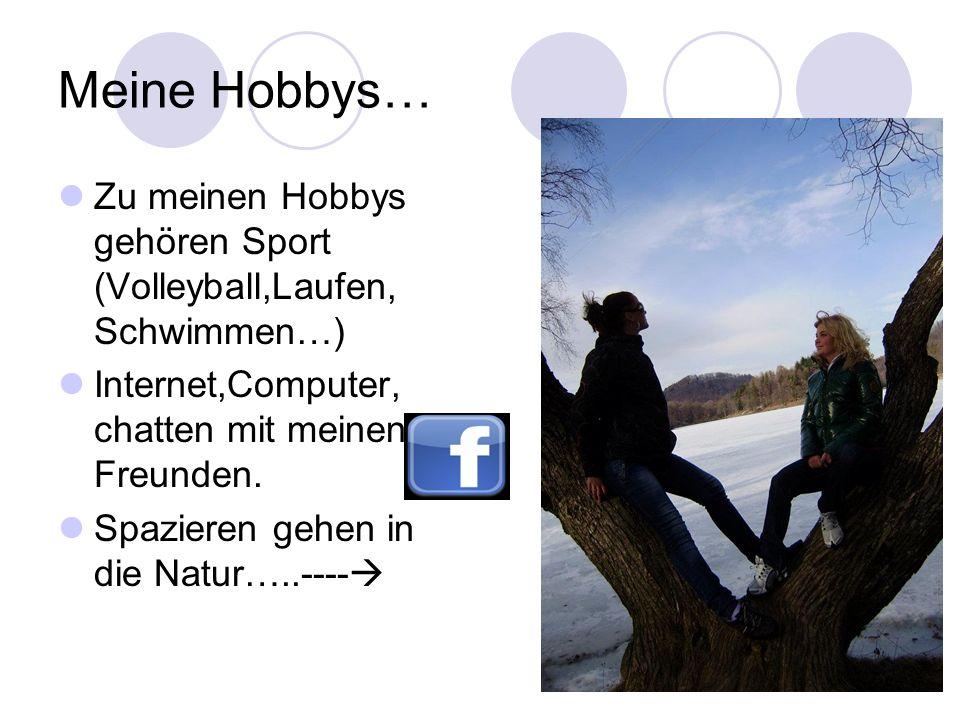 Meine Hobbys… Zu meinen Hobbys gehören Sport (Volleyball,Laufen, Schwimmen…) Internet,Computer, chatten mit meinen Freunden. Spazieren gehen in die Na