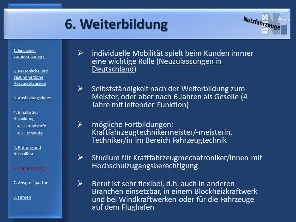 6. Weiterbildung 1. Eingangs- voraussetzungen 2. Persönliche und gesundheitliche Voraussetzungen 3. Ausbildungsdauer 4. Inhalte der Ausbildung 4.1 Gru