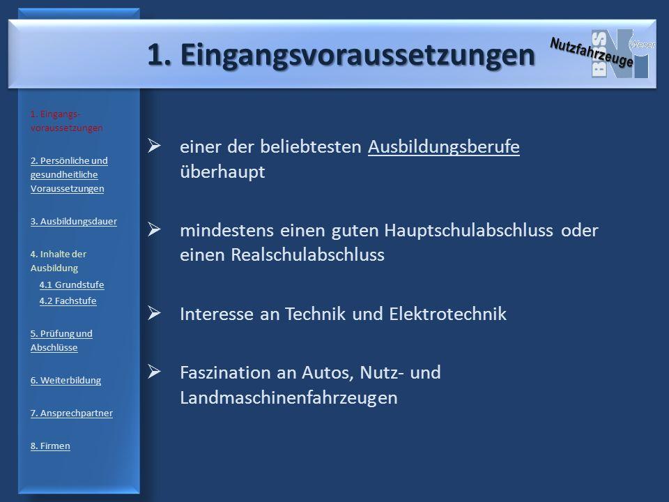 1. Eingangsvoraussetzungen 1. Eingangs- voraussetzungen 2. Persönliche und gesundheitliche Voraussetzungen 3. Ausbildungsdauer 4. Inhalte der Ausbildu