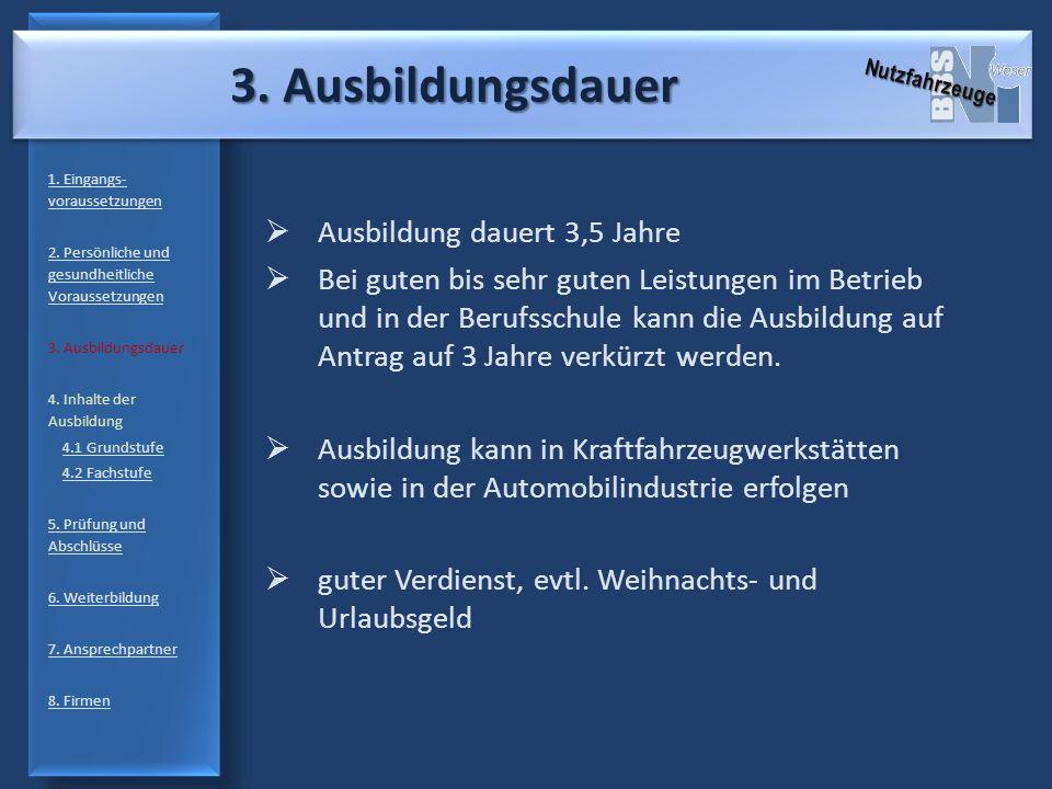 3. Ausbildungsdauer 1. Eingangs- voraussetzungen 2. Persönliche und gesundheitliche Voraussetzungen 3. Ausbildungsdauer 4. Inhalte der Ausbildung 4.1