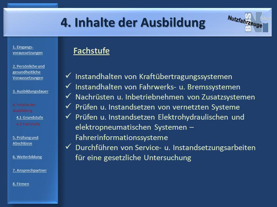 4. Inhalte der Ausbildung 1. Eingangs- voraussetzungen 2. Persönliche und gesundheitliche Voraussetzungen 3. Ausbildungsdauer 4. Inhalte der Ausbildun