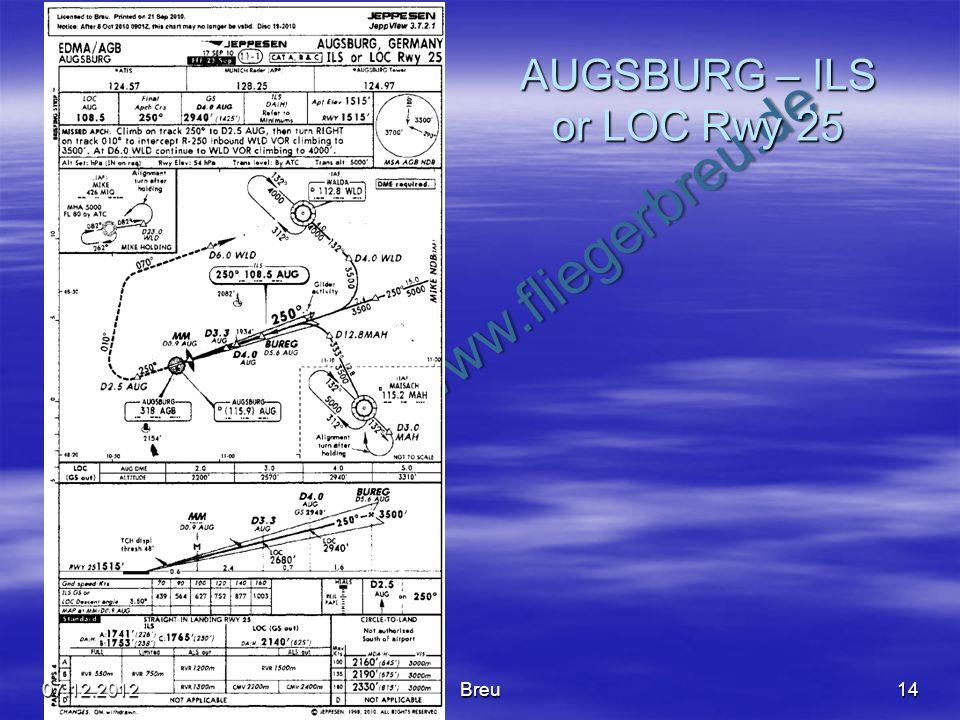 NO COPY – www.fliegerbreu.de AUGSBURG – ILS or LOC Rwy 25 1407.12.2012Breu