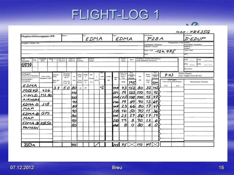 NO COPY – www.fliegerbreu.de FLIGHT-LOG 1 1507.12.2012Breu