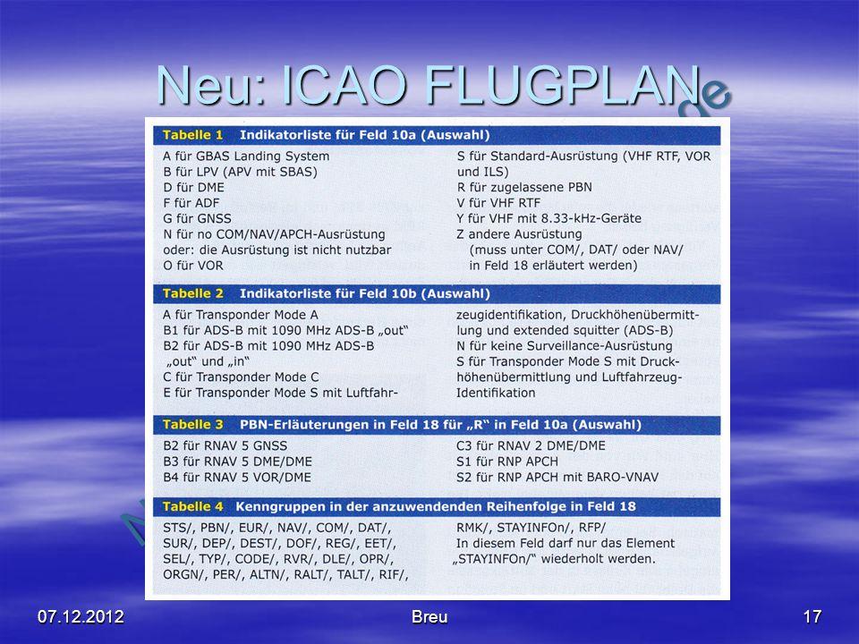 NO COPY – www.fliegerbreu.de Neu: ICAO FLUGPLAN 07.12.2012Breu17