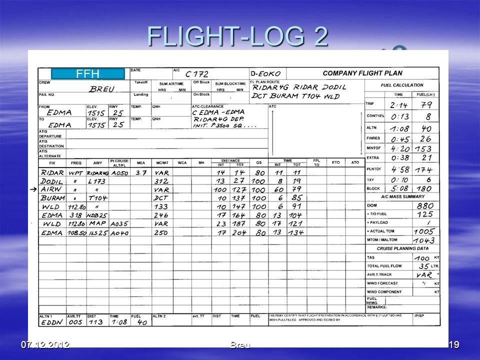 NO COPY – www.fliegerbreu.de FLIGHT-LOG 2 1907.12.2012Breu FFH