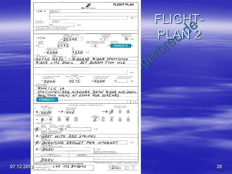 NO COPY – www.fliegerbreu.de FLIGHT- PLAN 2 2007.12.2012Breu SDRGF/S PBN/B2S1