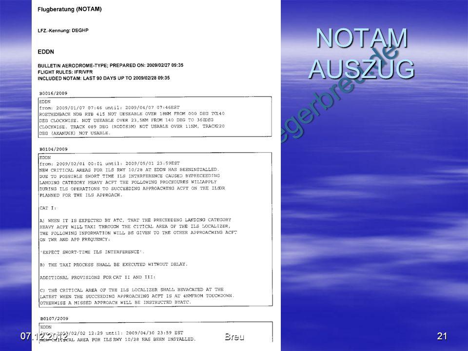 NO COPY – www.fliegerbreu.de NOTAM AUSZUG 2107.12.2012Breu