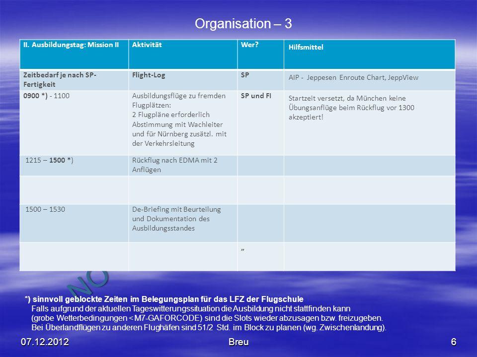 NO COPY – www.fliegerbreu.de 6 Organisation – 3 II. Ausbildungstag: Mission IIAktivitätWer? Hilfsmittel Zeitbedarf je nach SP- Fertigkeit Flight-LogSP