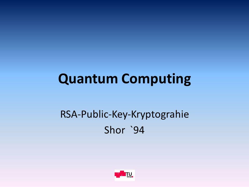 Überblick Public-Key-Kryptographie; RSA-Verfahren Grundlagen des Quantencomputers, Schnelligkeit Quantenparallelismus und Quantenfouriertransformation Die 5 Schritte des Shor-Algorithmus Der 2.