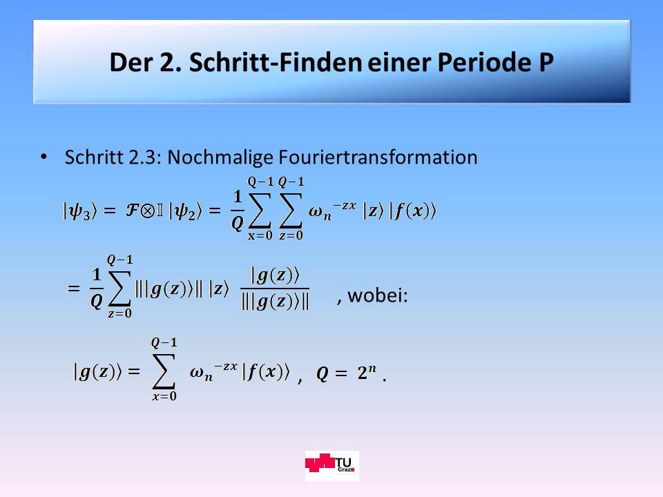Schritt 2.3: Nochmalige Fouriertransformation, wobei:,. Der 2. Schritt-Finden einer Periode P