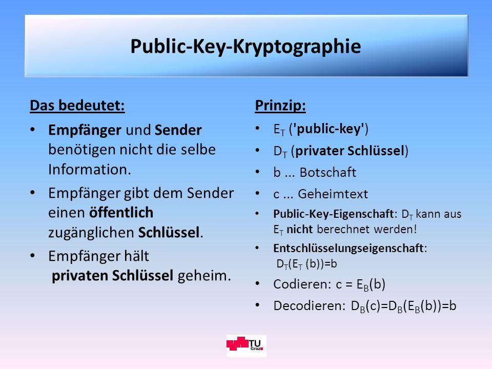 Das bedeutet: Empfänger und Sender benötigen nicht die selbe Information. Empfänger gibt dem Sender einen öffentlich zugänglichen Schlüssel. Empfänger