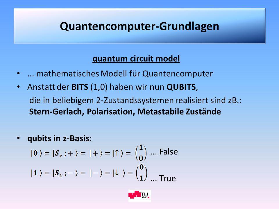 quantum circuit model... mathematisches Modell für Quantencomputer Anstatt der BITS (1,0) haben wir nun QUBITS, die in beliebigem 2-Zustandssystemen r