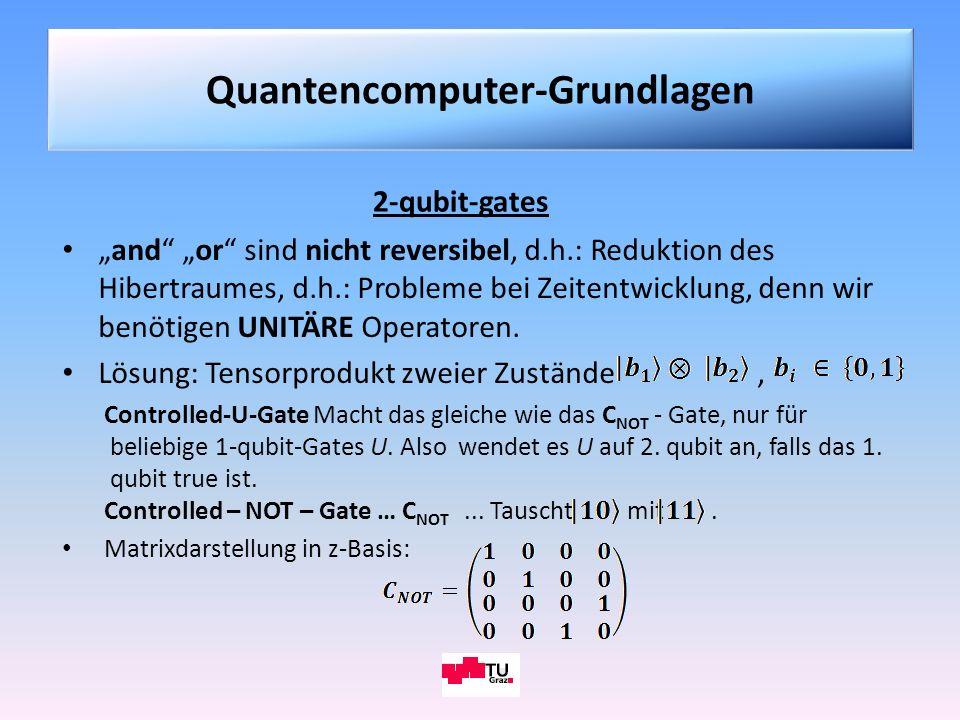 and or sind nicht reversibel, d.h.: Reduktion des Hibertraumes, d.h.: Probleme bei Zeitentwicklung, denn wir benötigen UNITÄRE Operatoren. Lösung: Ten