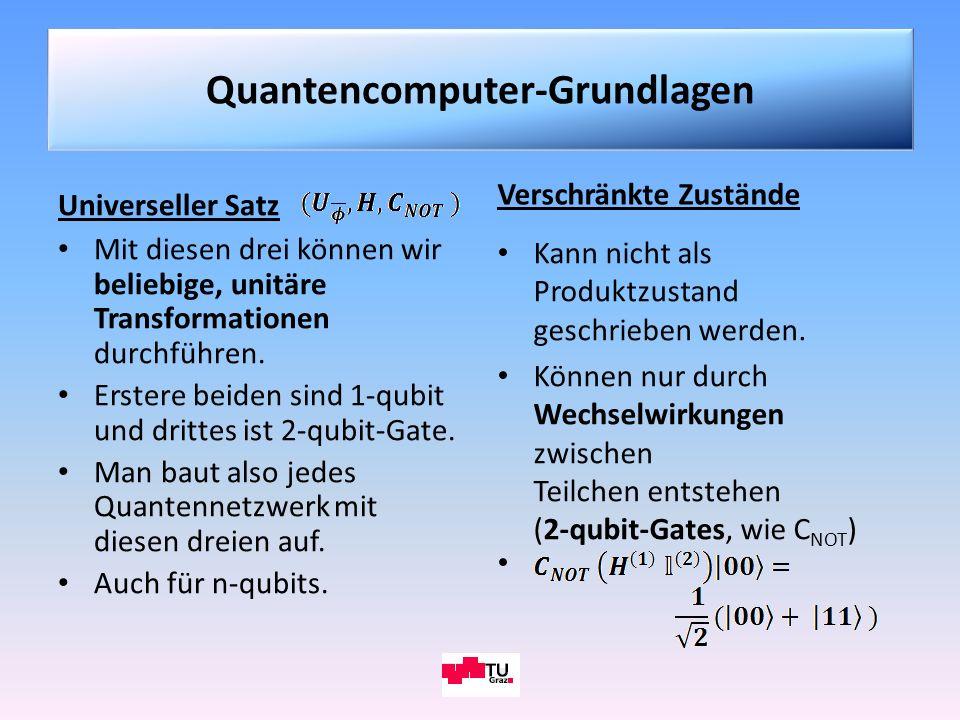 Universeller Satz Mit diesen drei können wir beliebige, unitäre Transformationen durchführen. Erstere beiden sind 1-qubit und drittes ist 2-qubit-Gate