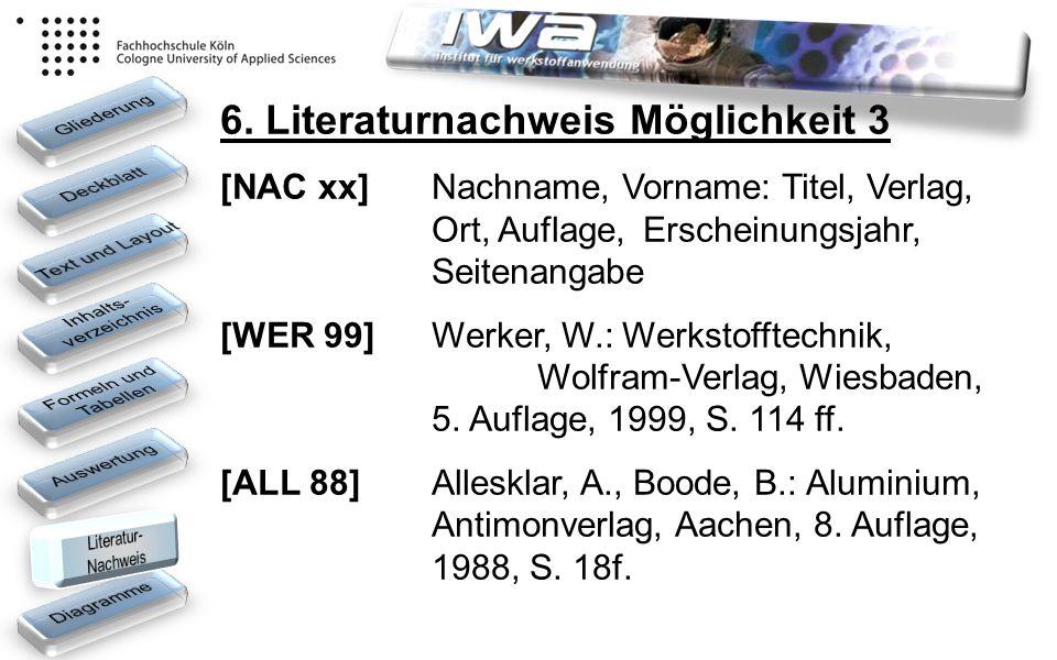 6. Literaturnachweis Möglichkeit 3 [NAC xx] Nachname, Vorname: Titel, Verlag, Ort, Auflage,Erscheinungsjahr, Seitenangabe [WER 99] Werker, W.: Werksto