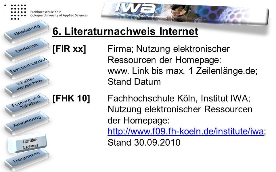 6. Literaturnachweis Internet [FIR xx] Firma; Nutzung elektronischer Ressourcen der Homepage: www. Link bis max. 1 Zeilenlänge.de; Stand Datum [FHK 10