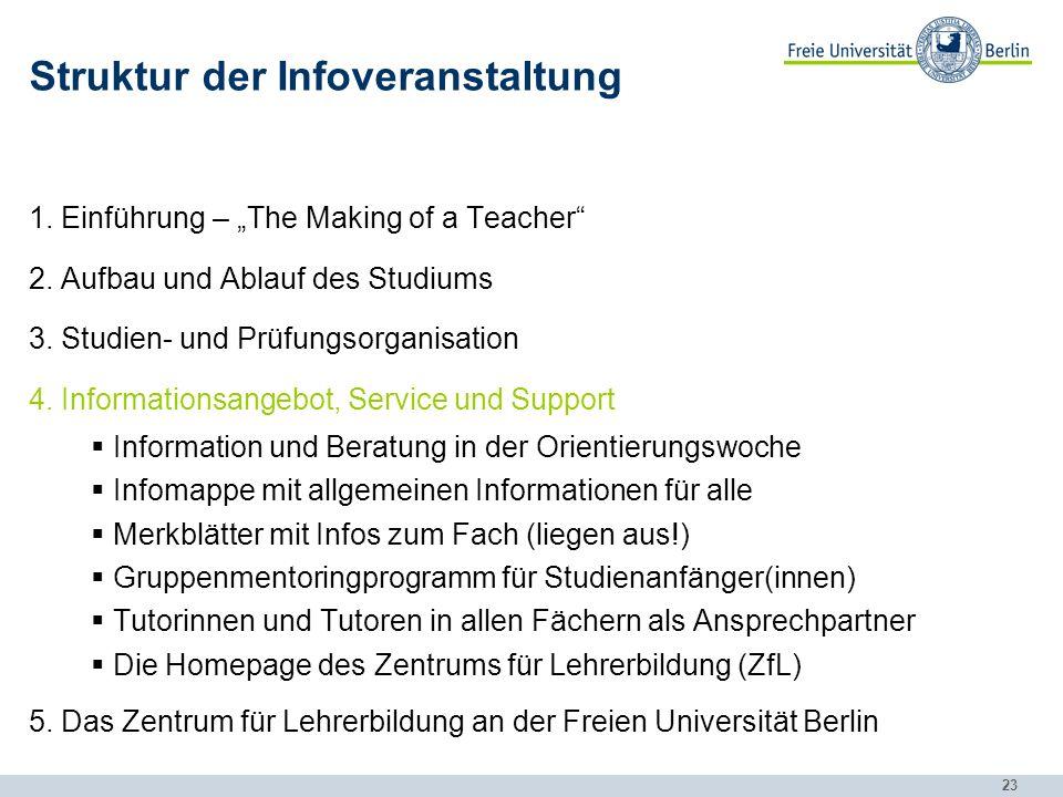 23 Struktur der Infoveranstaltung 1.Einführung – The Making of a Teacher 2.