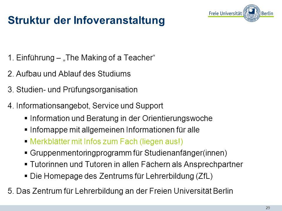 29 Struktur der Infoveranstaltung 1.Einführung – The Making of a Teacher 2.