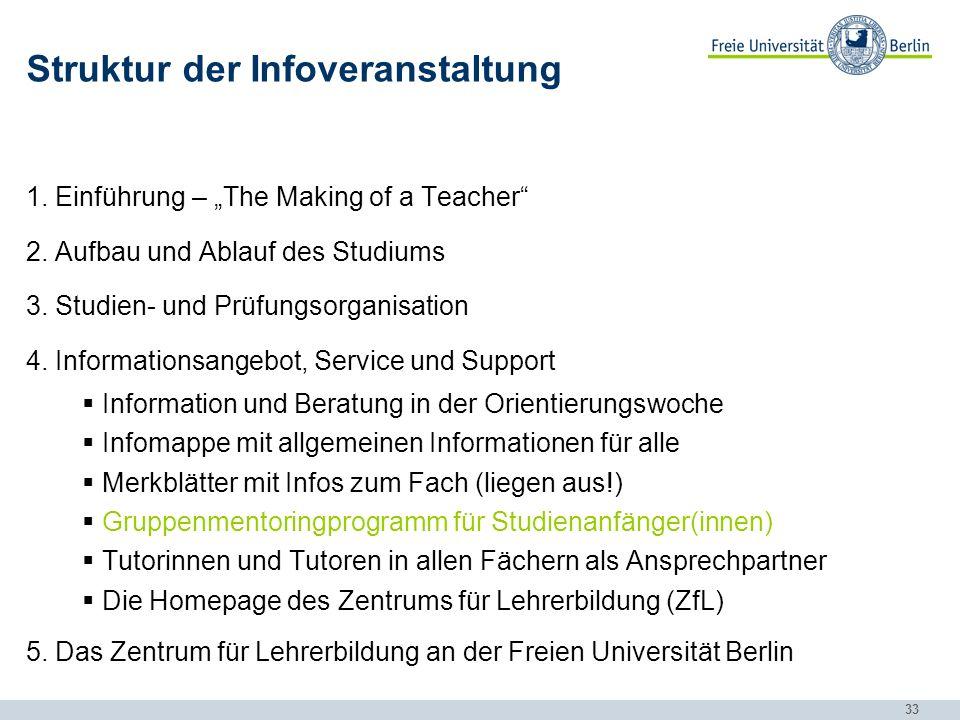 33 Struktur der Infoveranstaltung 1.Einführung – The Making of a Teacher 2.