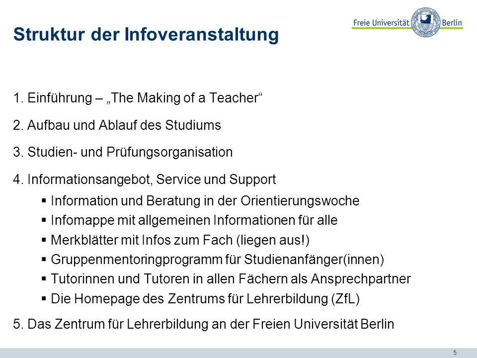 6 Struktur der Infoveranstaltung 1.Einführung – The Making of a Teacher 2.