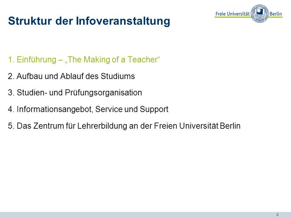 17 Struktur der Infoveranstaltung 1.Einführung – The Making of a Teacher 2.