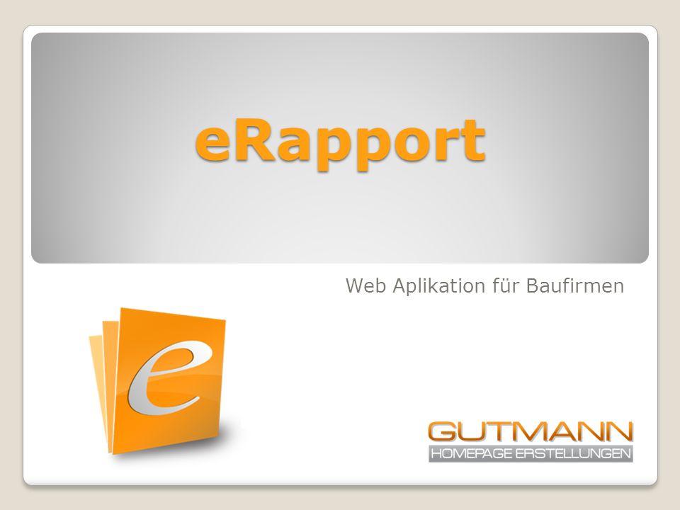 eRapport Web Aplikation für Baufirmen