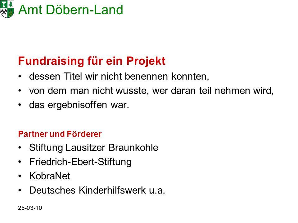 Amt Döbern-Land 25-03-10 Fundraising für ein Projekt dessen Titel wir nicht benennen konnten, von dem man nicht wusste, wer daran teil nehmen wird, da