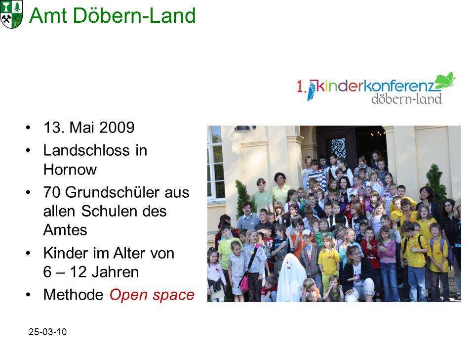 Amt Döbern-Land 25-03-10 13. Mai 2009 Landschloss in Hornow 70 Grundschüler aus allen Schulen des Amtes Kinder im Alter von 6 – 12 Jahren Methode Open