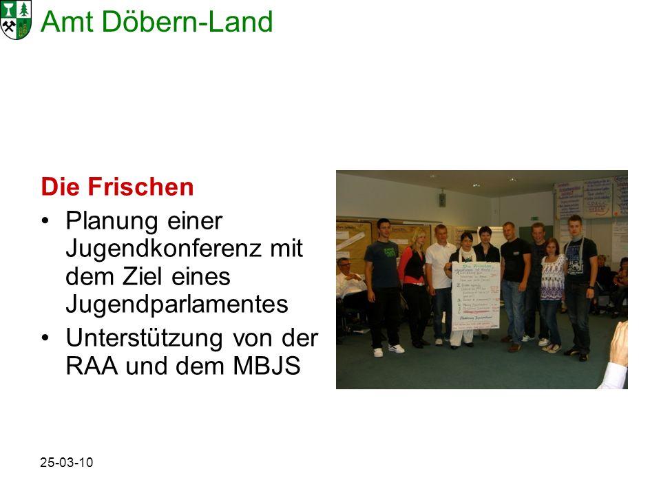 Amt Döbern-Land 25-03-10 Die Frischen Planung einer Jugendkonferenz mit dem Ziel eines Jugendparlamentes Unterstützung von der RAA und dem MBJS