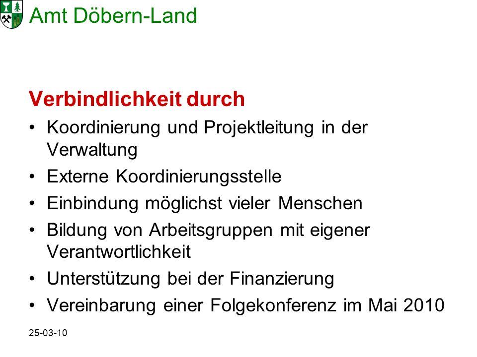 Amt Döbern-Land 25-03-10 Verbindlichkeit durch Koordinierung und Projektleitung in der Verwaltung Externe Koordinierungsstelle Einbindung möglichst vi