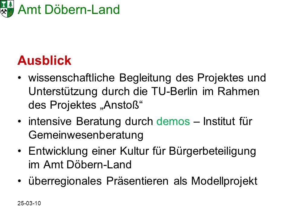 Amt Döbern-Land 25-03-10 Ausblick wissenschaftliche Begleitung des Projektes und Unterstützung durch die TU-Berlin im Rahmen des Projektes Anstoß inte