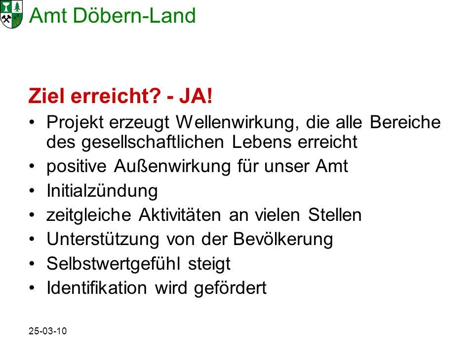 Amt Döbern-Land 25-03-10 Ziel erreicht? - JA! Projekt erzeugt Wellenwirkung, die alle Bereiche des gesellschaftlichen Lebens erreicht positive Außenwi