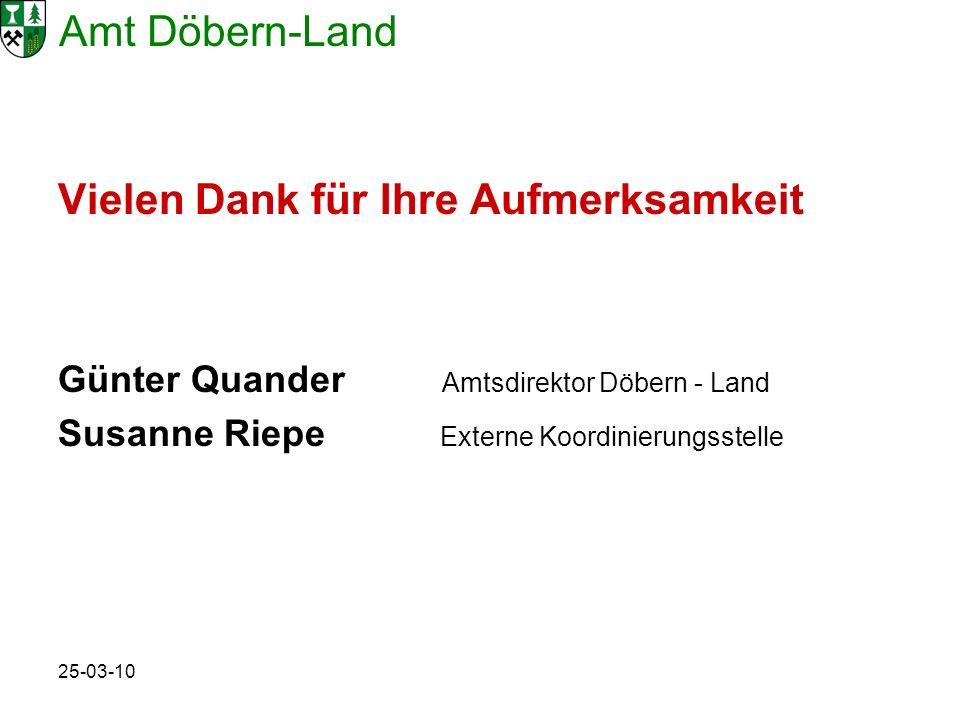 Amt Döbern-Land 25-03-10 Vielen Dank für Ihre Aufmerksamkeit Günter Quander Amtsdirektor Döbern - Land Susanne Riepe Externe Koordinierungsstelle