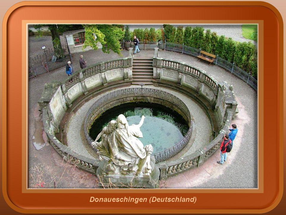 Ursprung der Donau. Der Ort, wo die zwei kleinen Flüsse (Breg und Brigach) sich vereinen, um die Donau in Donaueschingen, Deutschland zu bilden.