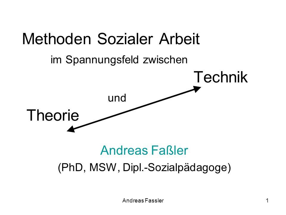 Andreas Fassler1 Methoden Sozialer Arbeit im Spannungsfeld zwischen Technik und Theorie Andreas Faßler (PhD, MSW, Dipl.-Sozialpädagoge)