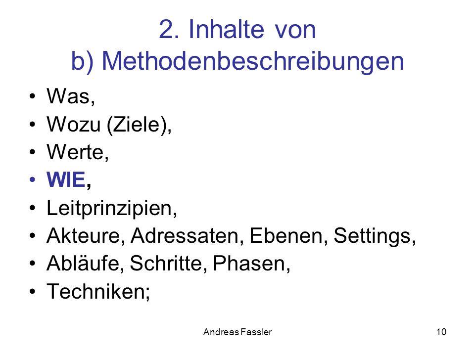 Andreas Fassler10 2. Inhalte von b) Methodenbeschreibungen Was, Wozu (Ziele), Werte, WIE, Leitprinzipien, Akteure, Adressaten, Ebenen, Settings, Abläu