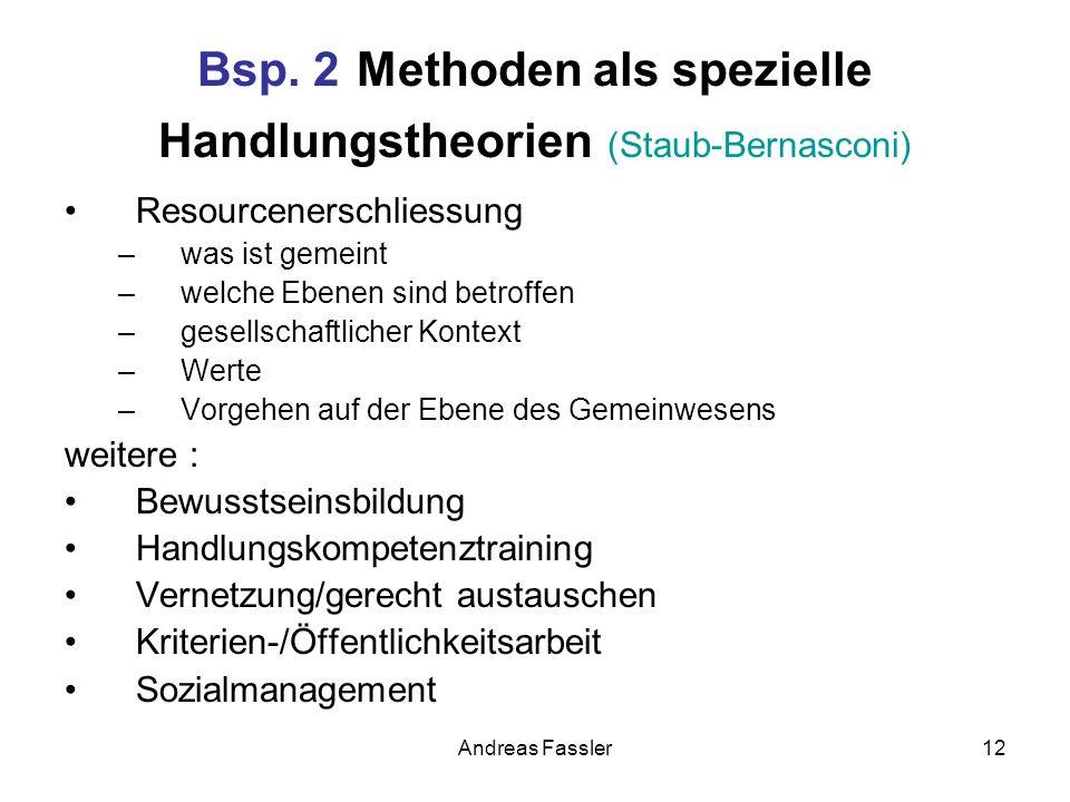 Andreas Fassler12 Bsp. 2 Methoden als spezielle Handlungstheorien (Staub-Bernasconi) Resourcenerschliessung –was ist gemeint –welche Ebenen sind betro
