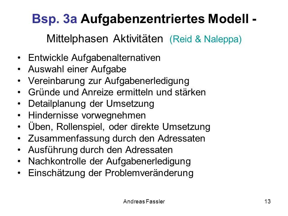 Andreas Fassler13 Bsp. 3a Aufgabenzentriertes Modell - Mittelphasen Aktivitäten (Reid & Naleppa) Entwickle Aufgabenalternativen Auswahl einer Aufgabe