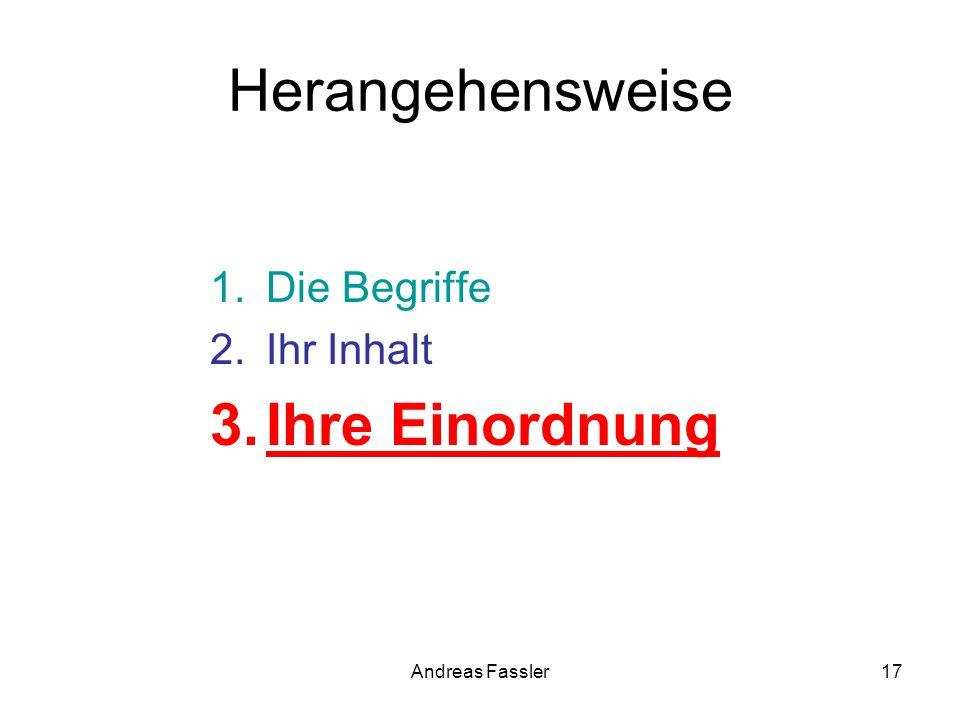 Andreas Fassler17 Herangehensweise 1.Die Begriffe 2.Ihr Inhalt 3.Ihre Einordnung