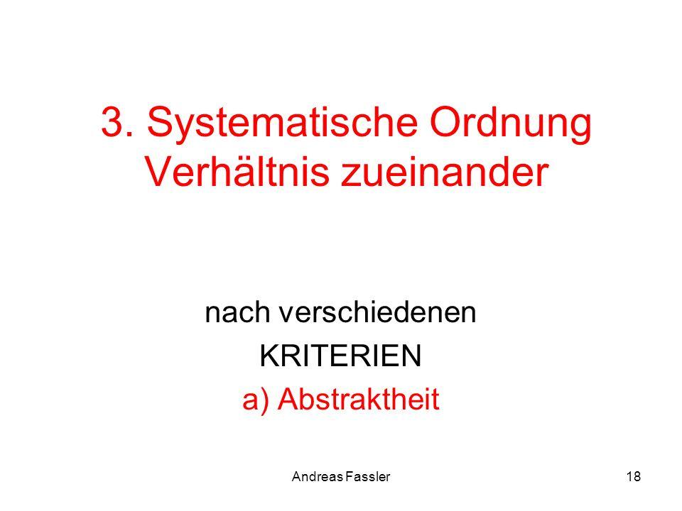 Andreas Fassler18 3. Systematische Ordnung Verhältnis zueinander nach verschiedenen KRITERIEN a) Abstraktheit