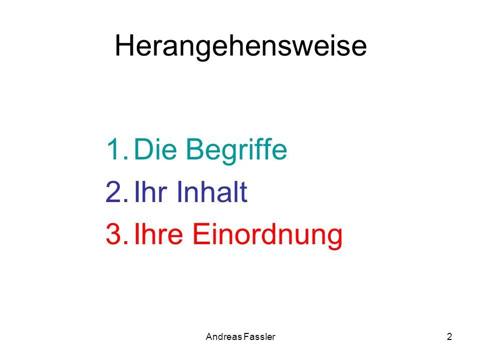 Andreas Fassler2 Herangehensweise 1.Die Begriffe 2.Ihr Inhalt 3.Ihre Einordnung