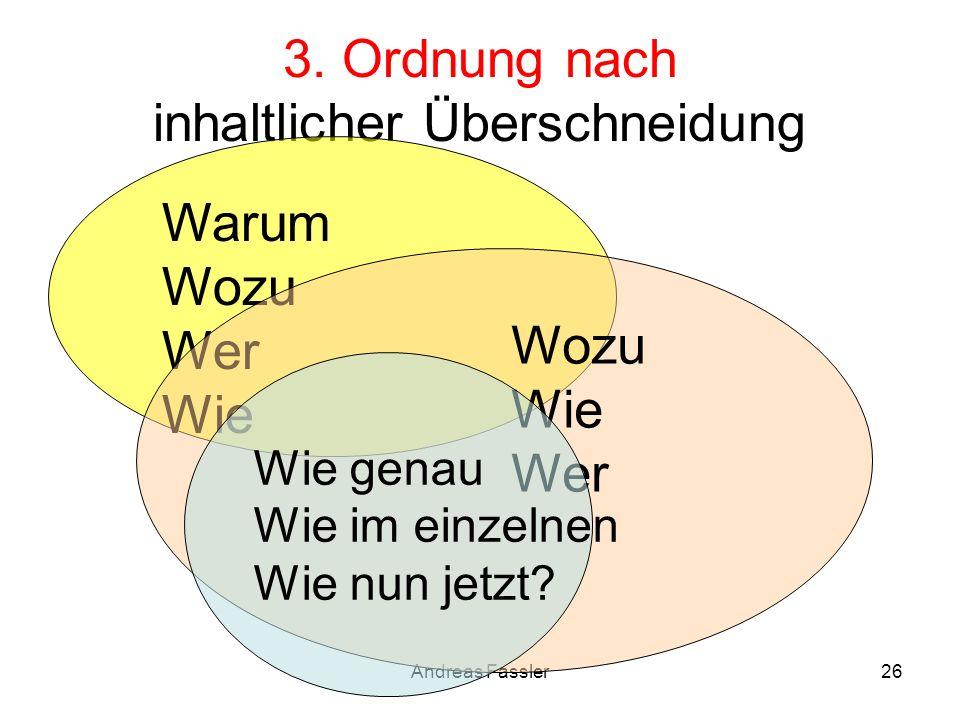 Andreas Fassler26 3. Ordnung nach inhaltlicher Überschneidung Warum Wozu Wer Wie Wozu Wie Wer Wie genau Wie im einzelnen Wie nun jetzt?