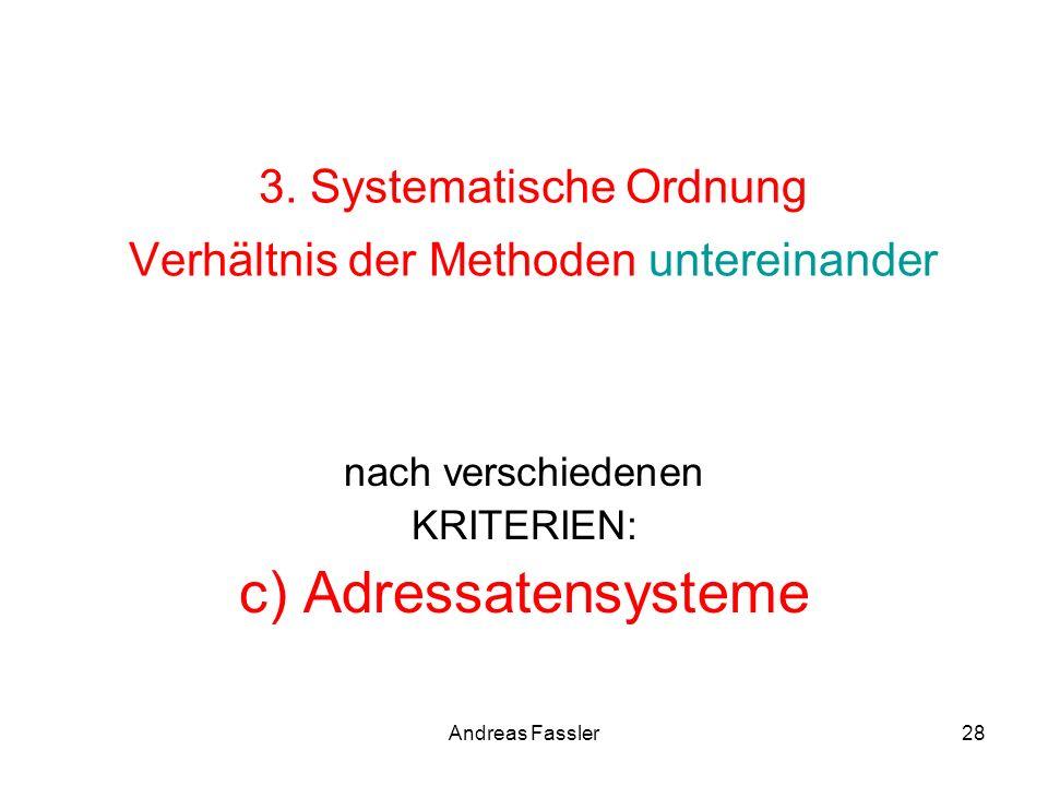 Andreas Fassler28 3. Systematische Ordnung Verhältnis der Methoden untereinander nach verschiedenen KRITERIEN: c) Adressatensysteme