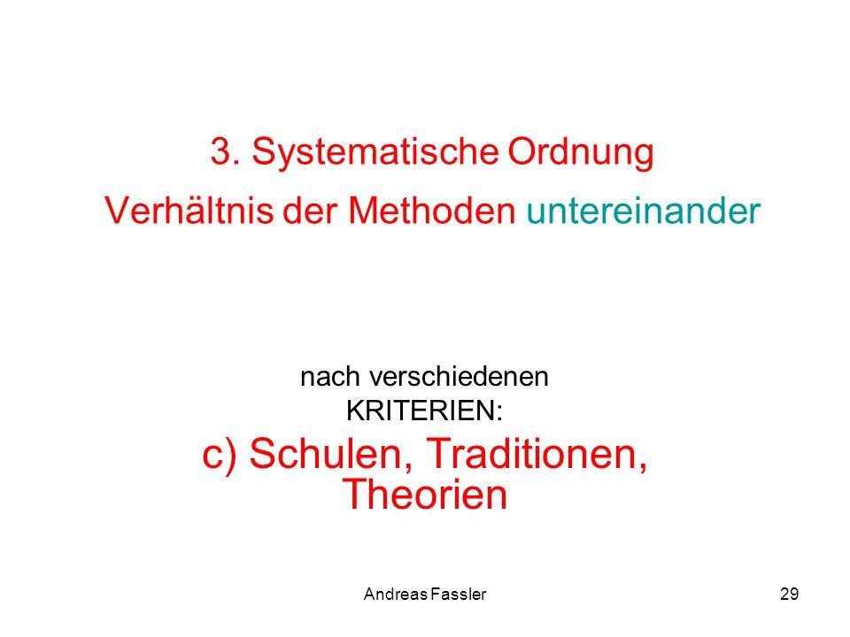 Andreas Fassler29 3. Systematische Ordnung Verhältnis der Methoden untereinander nach verschiedenen KRITERIEN: c) Schulen, Traditionen, Theorien