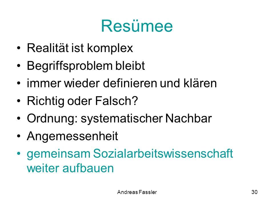 Andreas Fassler30 Resümee Realität ist komplex Begriffsproblem bleibt immer wieder definieren und klären Richtig oder Falsch? Ordnung: systematischer