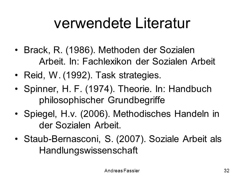 Andreas Fassler32 verwendete Literatur Brack, R. (1986). Methoden der Sozialen Arbeit. In: Fachlexikon der Sozialen Arbeit Reid, W. (1992). Task strat