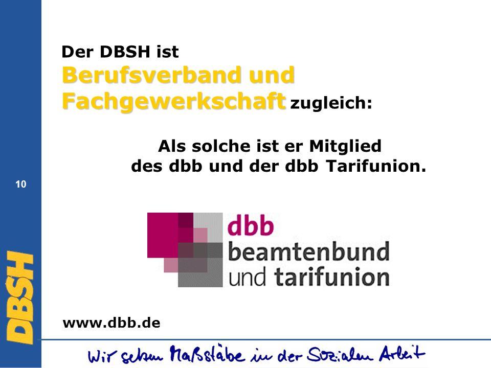 10 Berufsverband und Fachgewerkschaft Der DBSH ist Berufsverband und Fachgewerkschaft zugleich: Als solche ist er Mitglied des dbb und der dbb Tarifun
