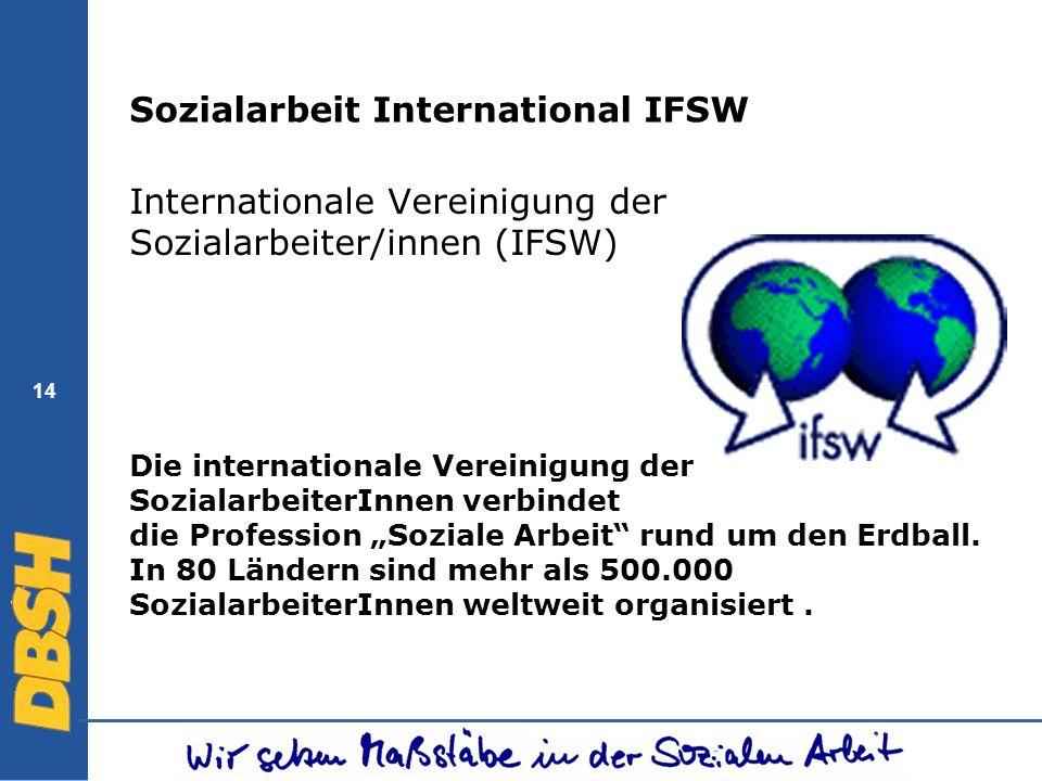 14 Sozialarbeit International IFSW Internationale Vereinigung der Sozialarbeiter/innen (IFSW) Die internationale Vereinigung der SozialarbeiterInnen v