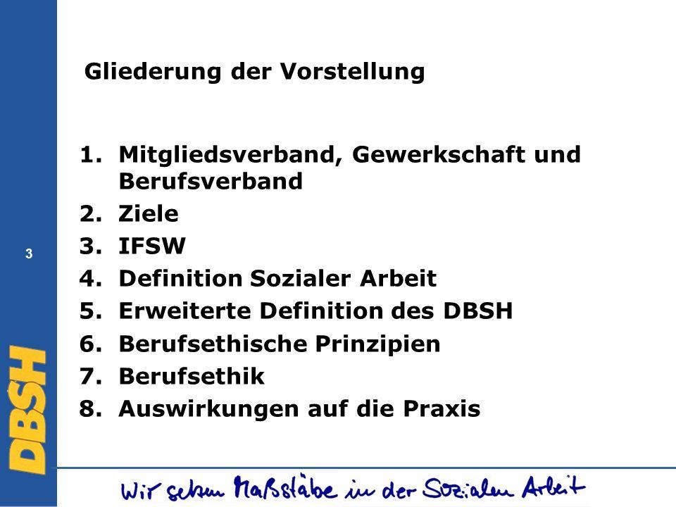 3 Gliederung der Vorstellung 1.Mitgliedsverband, Gewerkschaft und Berufsverband 2.Ziele 3.IFSW 4.Definition Sozialer Arbeit 5.Erweiterte Definition de