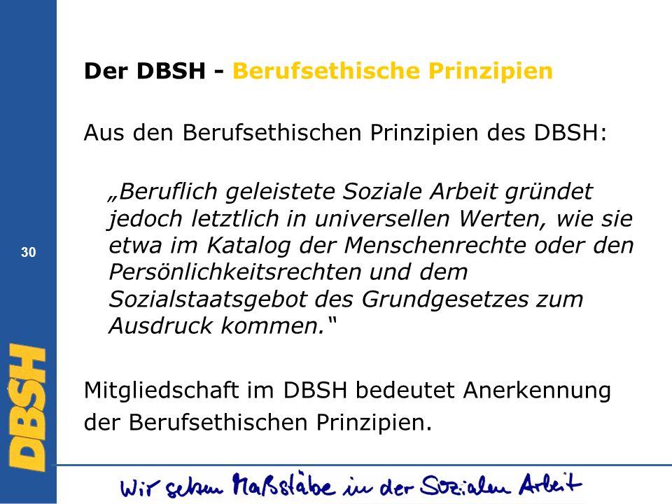 30 Der DBSH - Berufsethische Prinzipien Aus den Berufsethischen Prinzipien des DBSH: Beruflich geleistete Soziale Arbeit gründet jedoch letztlich in u
